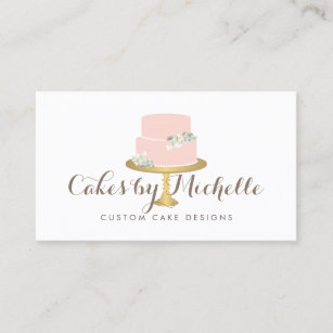 Cake business cards zazzle elegant pink cake with florals cake decorating business card junglespirit Image collections
