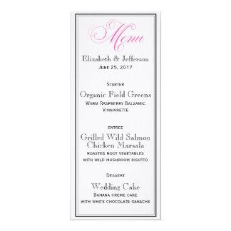 Elegant Pink Calligraphy Wedding Menu Card