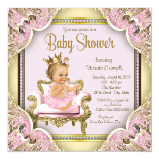 Elegant Pink Chair Pearls Pink Gold Baby Shower Card