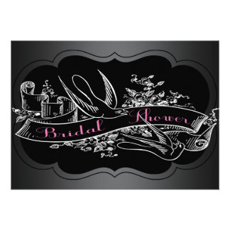 Elegant Pink Chalkboard Bridal Shower Custom Announcements