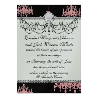 elegant pink chandelier damask on black card