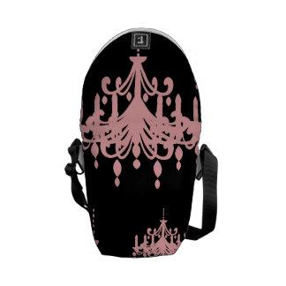 elegant pink chandelier damask on black courier bag