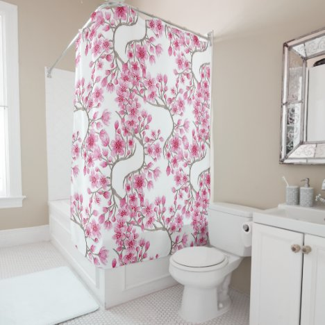 Elegant Pink Cherry Blossom Floral Watercolor Shower Curtain