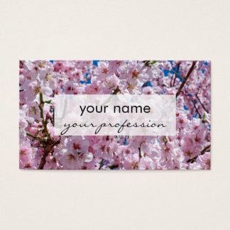 elegant pink cherry blossom tree photograph business card