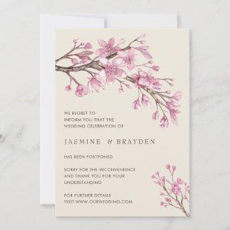 Elegant Pink Cherry Blossom Wedding Postponement Announcement