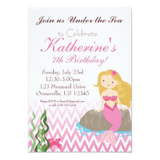 Elegant Pink Chevron Blonde Mermaids Birthday 5x7 Paper Invitation Card