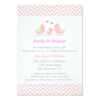 Elegant Pink Chevron Cute Bird Baby Shower Card