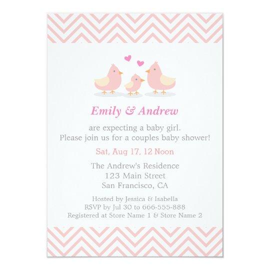 Elegant pink chevron cute bird baby shower invitation zazzle elegant pink chevron cute bird baby shower invitation filmwisefo