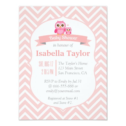 elegant pink chevron owl baby girl shower party invitations zazzle