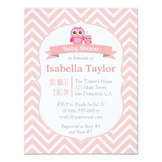 "Elegant Pink Chevron Owl Baby Girl Shower Party 4.25"" X 5.5"" Invitation Card"
