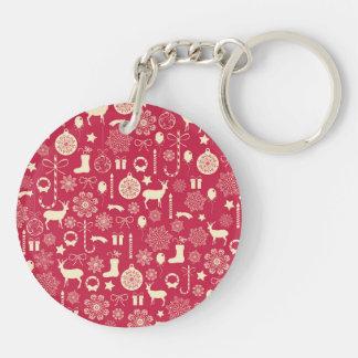 Elegant Pink Christmas Pattern Keychain