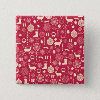 Elegant Pink Christmas Pattern Pin Button