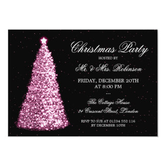 Elegant Pink Christmas Tree Holiday Party Card