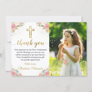 Elegant Pink Coral Floral 1st Holy Communion Photo Thank You Card