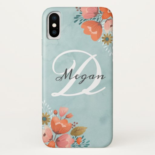 Elegant Pink Coral Floral Monogram iPhone X Case
