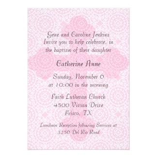 Elegant Pink Cross Custom Baptism Invitation