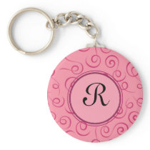 Elegant Pink Curl Pattern with Custom Monogram Keychain