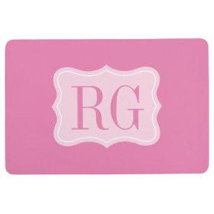 Elegant Pink Custom Monogrammed Kitchen Floor Mat
