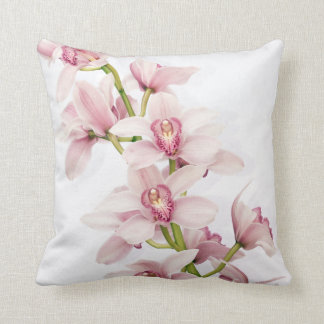 Elegant Pink Cymbidium Orchid Throw Pillow
