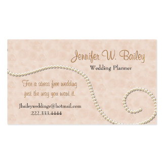Elegant Pink Damask and Pearls Business Card