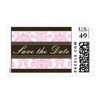 Elegant Pink Damask Baroque Save the Date Postage