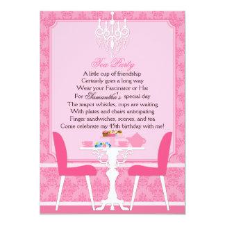 Elegant Pink Damask Birthday Tea Party Card