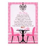 "Elegant Pink Damask Birthday Tea Party 5"" X 7"" Invitation Card"
