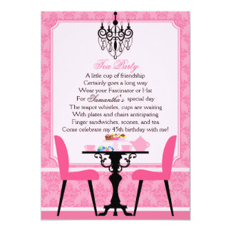 Elegant Pink Damask Birthday Tea Party Personalized Announcements