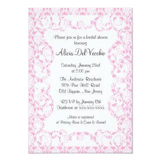 Elegant Pink Damask Bridal Shower Invitation