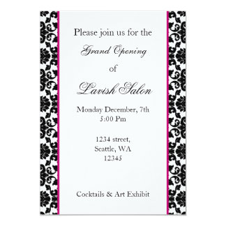 "Elegant pink damask Corporate party Invitation 5"" X 7"" Invitation Card"