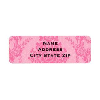 Elegant pink damask label