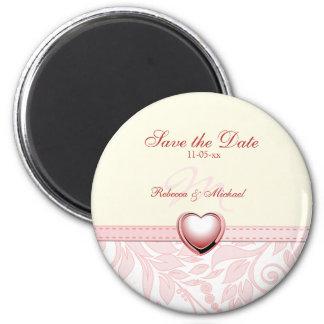 Elegant Pink Damask Monogram Save the Date Magnets