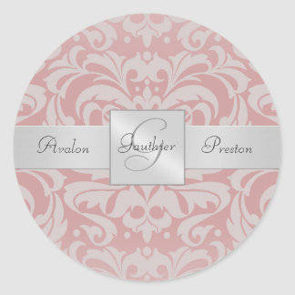 Elegant Pink Damask Monogram Wedding Sticker