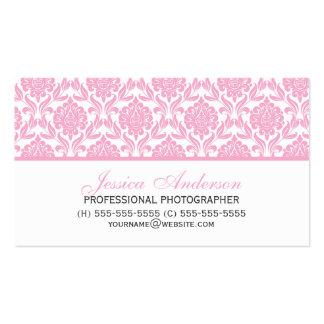 Elegant Pink Damask Pattern Business Card