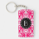 Elegant Pink Damask Pattern with Monogram Keychain