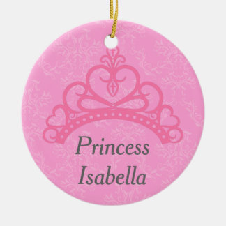 Elegant Pink Damask, Princess Tiara Ceramic Ornament