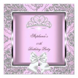 Elegant Pink Damask Silver Birthday Party Card