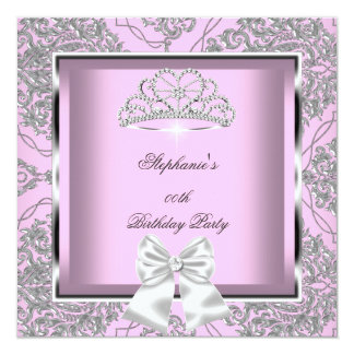 Elegant Pink Damask Silver Birthday Party Card