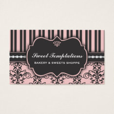 Elegant Pink Damask & Stripe Bakery Business Card at Zazzle
