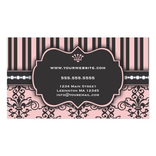 Elegant Pink Damask & Stripe Bakery Business Card (back side)