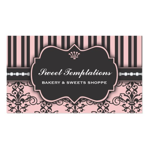 Elegant Pink Damask & Stripe Bakery Business Card (front side)
