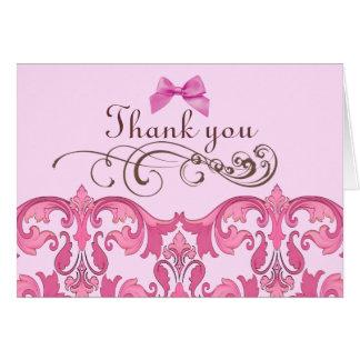 Elegant Pink Damask Thank You Card