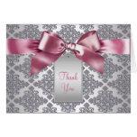 Elegant Pink Damask Thank You Cards