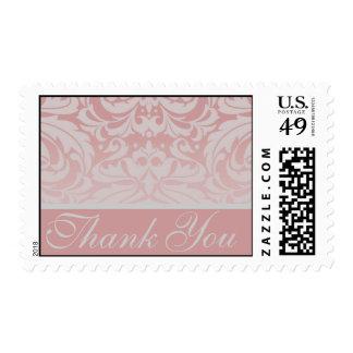Elegant Pink Damask Thank You Postage Stamp