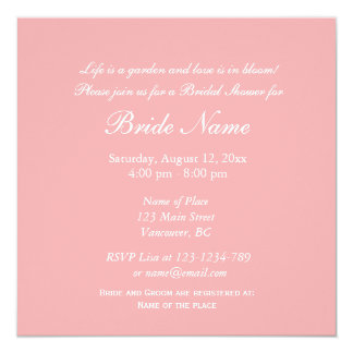Elegant pink decorative floral bridal shower invitation