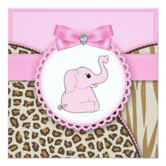 Elegant Pink Elephant Baby Girl Shower Invitations