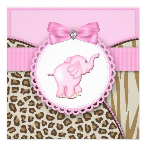 Elegant Pink Elephant Baby Girl Shower Custom Invitations