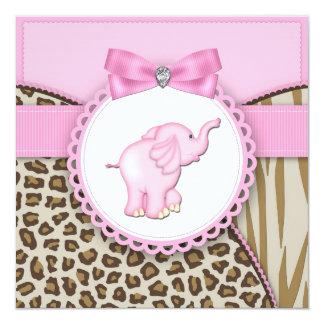 Elegant Pink Elephant Baby Girl Shower Invitation