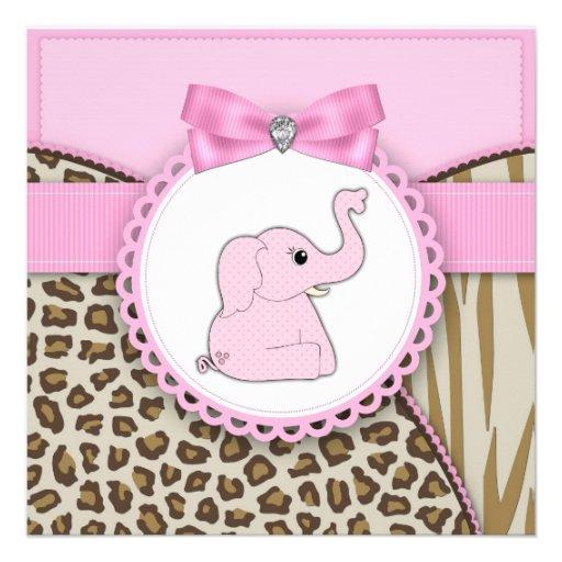 Elegant Pink Elephant Baby Girl Shower Invitations (front side)