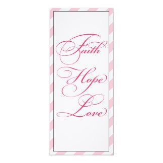 Elegant Pink Faith Hope & Love Wedding Menu Card